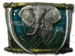 ELEPHANT BELT BUCKLE + display stand